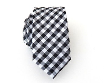 Mens Tie. Black and White Checkers Mens Skinny Necktie