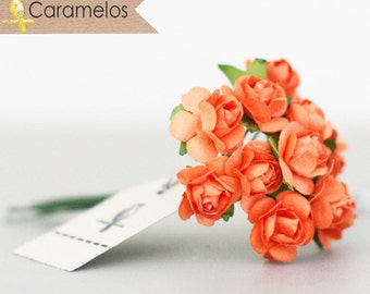 36 Miniature Orange Paper Roses