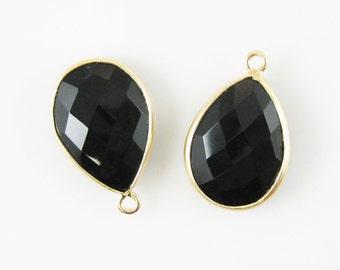 Bezel Pendant-Gemstone Pendant-Bezel Charms- Finding-Vermeil Charm-Black Onyx,Bezel Set,Teardrop Shape-22 by 15mm-(2 pcs) SKU: 201101-BON