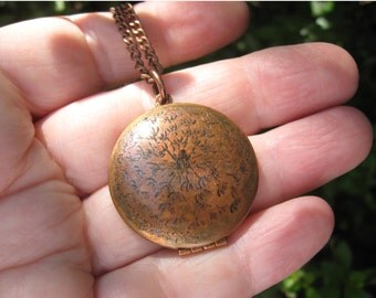 Dandelion Wishes Locket Original Artwork Engraved Design on copper Vintage Locket with copper chain