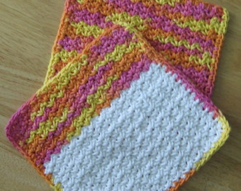 Crochet Cotton Dishcloth set of 2 Yellow, Pink, Orange and White