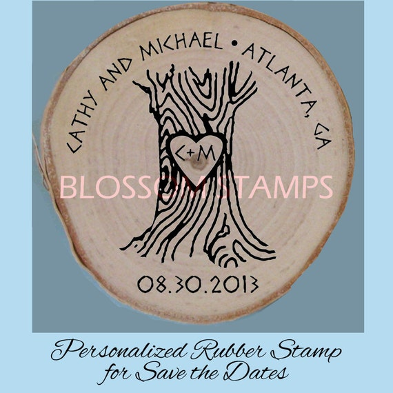 Rubber Stamp For Save The Date Magnets By Blossomstamps