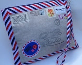 Medium Zippered Airmail Pouch Project bag Knitting iPad Kindle case 9x11inches