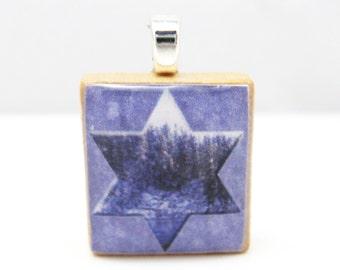Star of David framing Pacific Northwest winter lake scene - Scrabble tile pendant