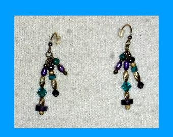 Amethyst Turquoise Crystal Gold Filled Triple Dangle Earrings
