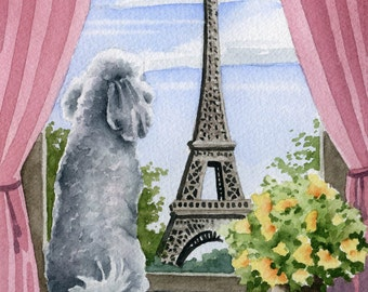 "WHITE POODLE Art Print ""White Poodle In Paris"" Watercolor Signed by Artist DJ Rogers"