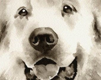 GREAT PYRENEES Sepia Art Print Signed by Watercolor Artist DJ Rogers