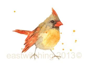 Watercolor Cardinal Print, Bird lover gift, 8x10 print, ready to frame