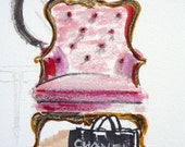 Sketch, Pink, Velvet Bergere, Fine Art Print, French Chair, Sketch Art, Drawing and Illustration, Marker