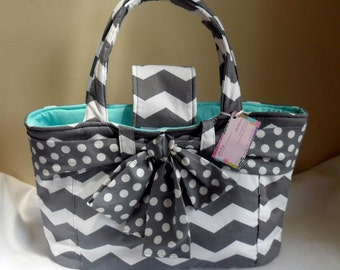 Large Gray Chevron with Polka Dot Bow and Aqua Interior Diaper Bag Tote CHOICE OF INTERIOR