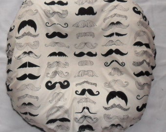 Where's My Stache Mustache and Black Minky Pillow Cover Fits Boppy Newborn Lounger