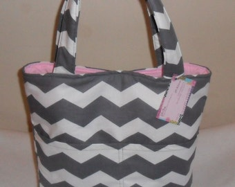 Gray and White Chevron Large Tote Bag Purse CHOICE OF INTERIOR
