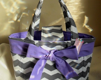 Large Gray Chevron with Lavender Bow and Interior Diaper Bag Tote