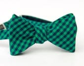 navy & emerald gingham freestyle bow tie