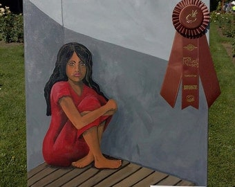 Harvested Innocence, original acrylic painting on canvas, anti-sex trafficking