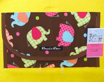 Baby Elephants Diaper and Wipes Case Holder Clutch