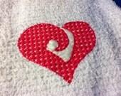 Embroidered Kitchen Towel, Valentines, Heart
