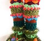 Crochet Slipper Boots/ Leg Warmer Combo-Unique colorful crochet slipper boots by FunkyCrochetArt