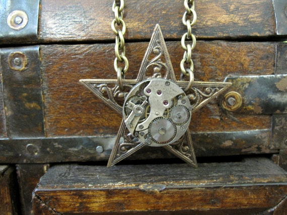 Star Necklace, Clockworks Necklace, Steampunk Necklace, Upcycled Necklace, Star, Button Necklace,  Celestial, REVERSIBLE, by Days Long Gone