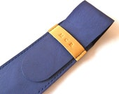 Leather Pen Case, Navy Blue and Beige