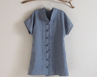 heavy  linen asian capped sleeve blouse made to order
