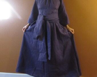 linen many moods dress with 1 linen obi sash belt / custom order / pleated neckline dress / obi sash / plus size linen dress / long dress