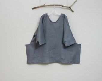 plus size linen cornered detail top by annyschoo
