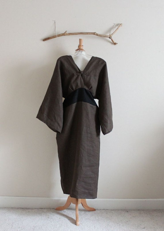 custom linen origami dress earthy brown ginger made to fit listing