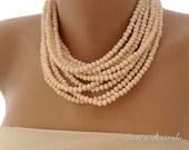 Wedding Blush Crystal Necklace, Multistrand Bib Necklace , Brides Jewelry Blush Pearl Necklace, Wedding Necklace,Tea Rose Crystal Necklace
