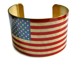 United States FLAG cuff bracelet USA Brass or aluminum Heritage America Gifts for her