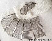 "10 Silver Metal Hair Combs 2"" ( 5 cm)"
