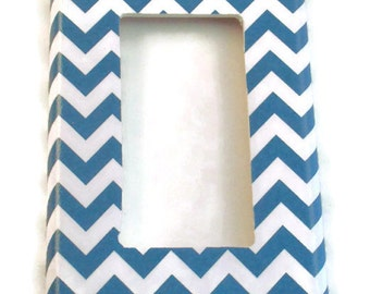 Rocker Light Switch Cover Wall Decor Switchplate Switch Plate in  Blue Chevron  (227R)