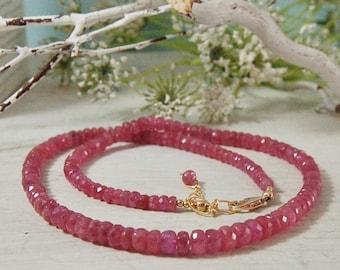 AA Natural Pink Sapphire Necklace Choker 14ktGF Gold Filled