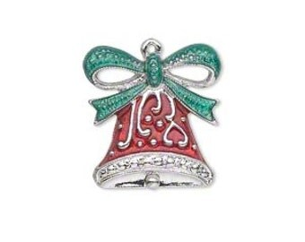 Christmas Bell Charm with Fancy Bell, Red and Green Enamel with Silver-plated accents.