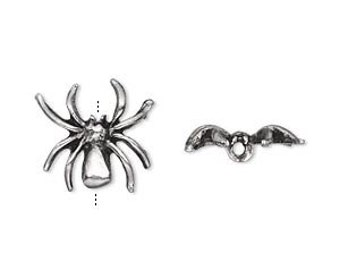 Two Spider Beads in Antiqued Pewter, 15mm