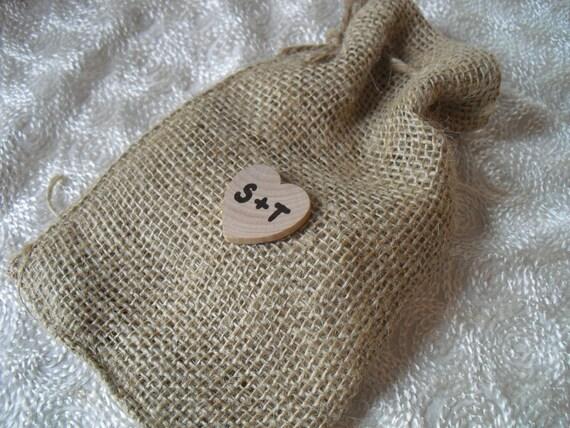 Favor Bags - SET OF 10 Rustic Initial Heart  Burlap Wedding Favor Bag Candy Buffet Bag or Gift Bag 4x6 - Item 1017