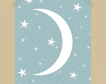 Printable Moon and Stars Print 11 x 14 Nursery Print Night Sky Print Nursery Art Star Print Baby Boy Baby Girl Print Duck Egg Blue Bedroom