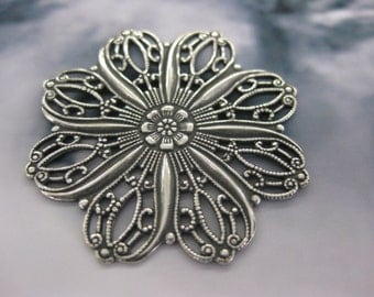 Silver Ox Plated Floral 35mm Filigree  870SOX  x2