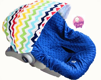 Infant Car Seat Cover, Baby Car Seat Cover in Chevron Rainbow