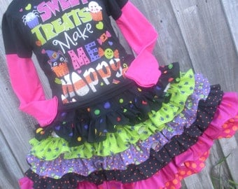 Ready to Ship Custom Boutique Halloween Ruffle Nie Nie Skirt 13 inches long  Should fit most 3 4 5 Girls