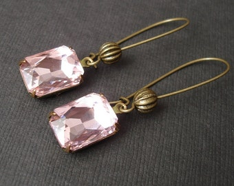 Vintage Pink Faceted Crystal in Antiqued Brass Prong Setting Earrings.