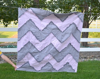 Chevron Rag Quilt Sewing PATTERN, Reversible, Instant Download PDF - Rag Quilt Pattern - Simple Quilting Pattern - How to Sew a Rag Quilt