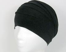Wide Black 100 % Cotton Head Wrap Chefs Head Wrap Black Unisex Head Wrap Men's Headbands Black Headbands Cotton Head Wraps Chef's Headband