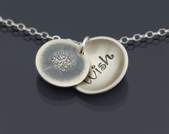 Locket Style Dandelion Wish Necklace - Etched Silver
