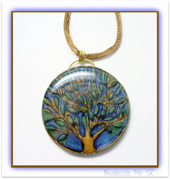Tree of Life Ocean Blue Statement necklace, polymer clay jewelry
