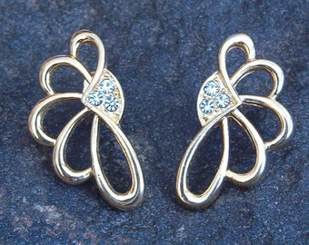 Earrings, Vintage Gold Tone Rhinestone Pierced Earrings in Leaf Design