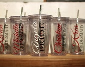 7 - Personalized Tumblers... Set of 7... Great gift for the bridesmaids, bachelorette parties, showers, kids & teachers...