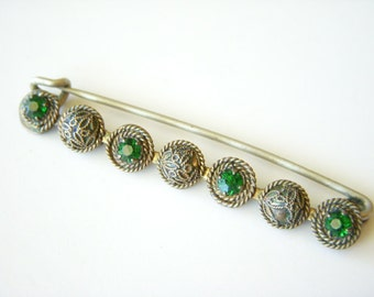 Antique Brass and Green Stone Brooch - 8x60mm