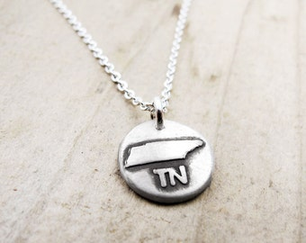 Tiny Tennessee necklace, silver state jewelry silver map pendant