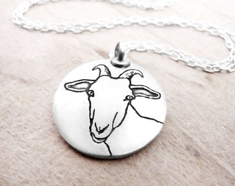 Goat necklace, silver dairy goat jewelry, Capricorn necklace